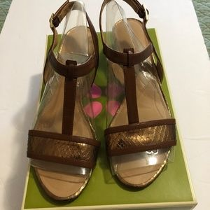 Naturalizer womens brown and gold leather sandals